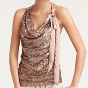 NEW Ann Taylor Rose Gold Sequin Halter Cowl Blouse